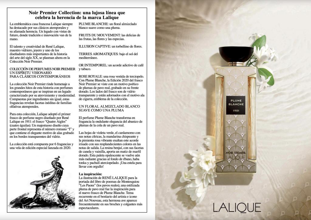 Revista Ventas de Perfumeria Lalique fragancia Plume Blanche